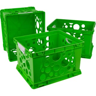 Storex Large Storage and Filing Crate with Comfort Handles (Option: green/white (3 units/pack))