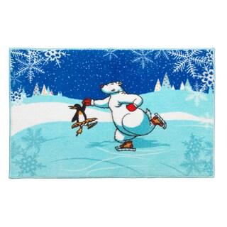 Ice Dancers Holiday Themed Christmas Bath Rug