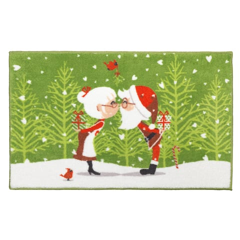 Kissing Claus Holiday Themed Christmas Bath Rug