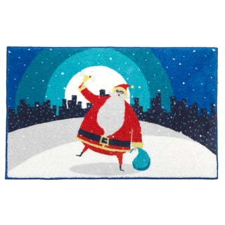 Santa in the City Holiday Themed Christmas Bath Rug