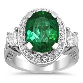 14k White Gold Natural Green Tourmaline and 2ct TDW Diamond Ring (F-G, VS1-VS2)