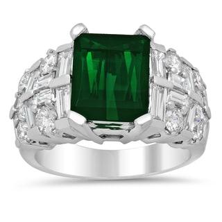 14k White Gold Natural Green Tourmaline and 2 1/4ct TDW Diamond Ring (F-G, VS1-VS2)