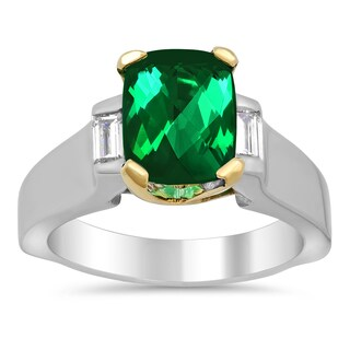 14k Two-tone Gold Natural Green Tourmaline and 1/4ct TDW Diamond Ring ( F-G, VS1-VS2)