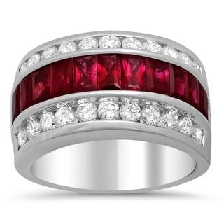 14k White Gold Ruby and 1 1/4ct TDW Diamond Ring ( F-G, VS1-VS2)
