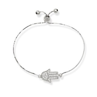 Sterling Silver Children's Cubic Zirconia Hamsa Hand Adjustable Bolo Bracelet