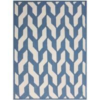 Sonora Blue Trellis Flat-weave Wool Rug (8' x 10') - 8' x 10'