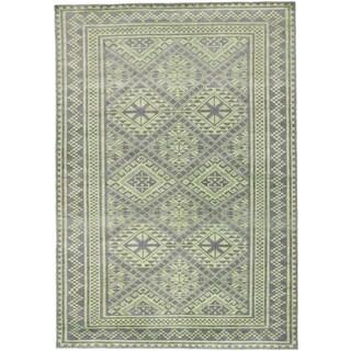 ecarpetgallery La Seda Grey/ Green Wool/ Silk Rug (5' x 7')