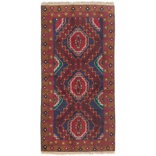 ecarpetgallery Rizbaft Blue/ Red Wool Rug (3' x 7')