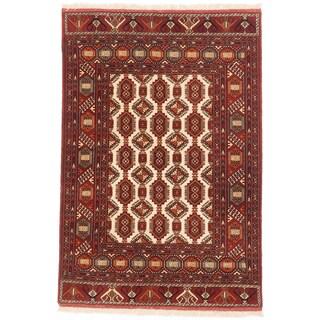 ecarpetgallery Shiravan Bokhara Beige/ Orange Wool Rug (4' x 6')