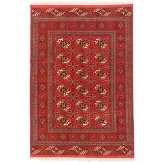 ecarpetgallery Shiravan Bokhara Brown Wool Rug (4' x 6')