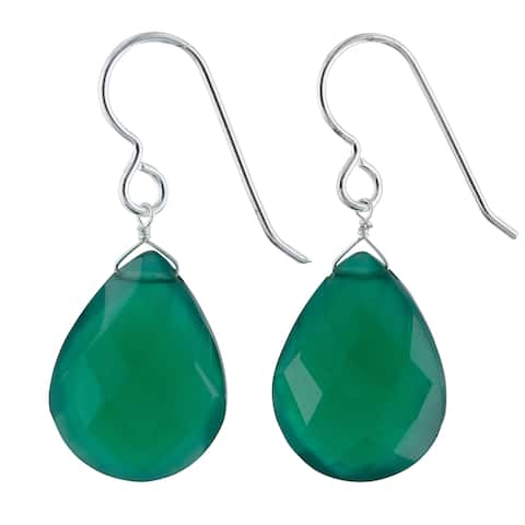 Emerald Green Chalcedony Gemstone Silver Handmade Earrings
