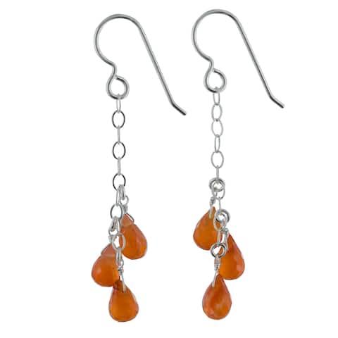 Vibrant Orange Polished Carnelien Gemstone Silver Handmade Earrings