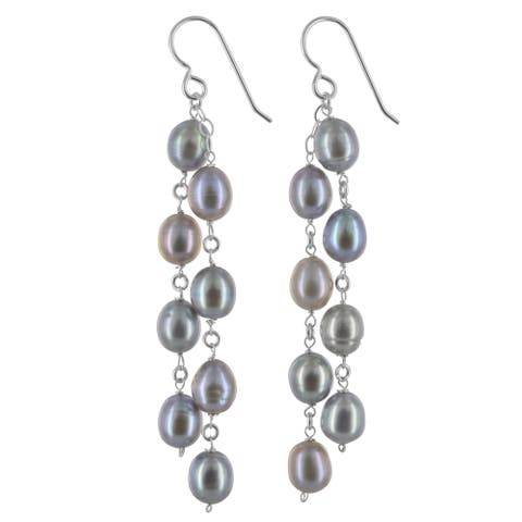 Platinum FW Pearl Chandelier Silver Handmade Earrings