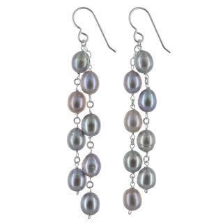 Ashanti Freshwater Platinum Pearl Chandelier Sterling Silver Handamde Earrings