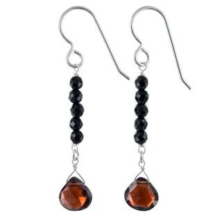 Garnet, Black Onyx Gemstone Sterling Silver Handmade Earrings. Ashanti Jewels