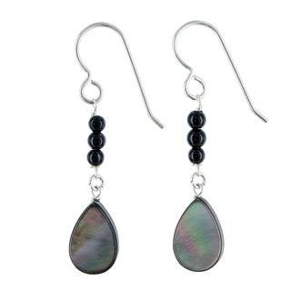 Ashanti Mother of Pearl and Black Onyx Gemstone Sterling Silver Handmade Earrings