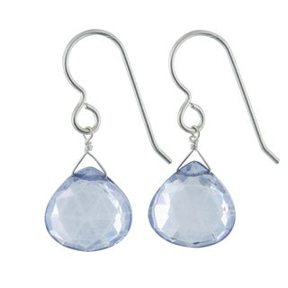 Ashanti Blue Quartz Briolette Gemstone Sterling Silver Handmade Drop Earrings