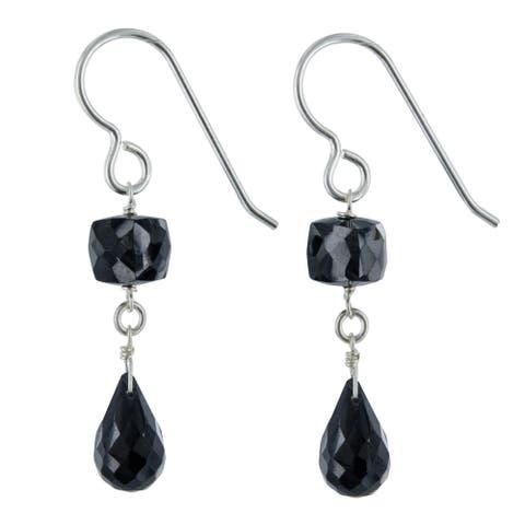 Black Spinel Gemstone Dangle Silver Handmade Earrings