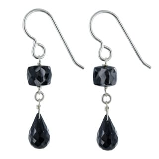 Ashanti Black Spinel Gemstone Sterling Silver Handmade Dangle Earrings