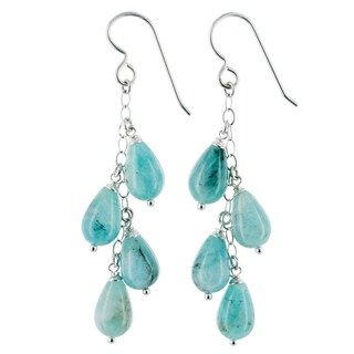 Ashanti Amazonite Gemstone Sterling Silver Handmade Chandelier Earrings