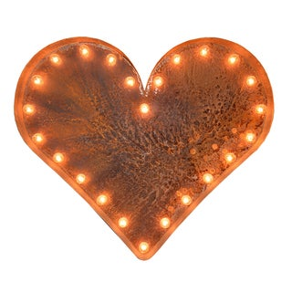 Indoor/ Outdoor Rusted Steel 2 ft. Heart Iconic Profession/Commercial MarqueeLight