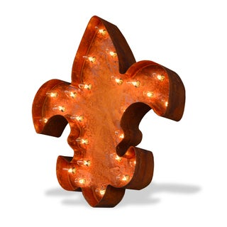 Indoor/ Outdoor Commercial Grade Rusted Steel Fleur-de-lis Marquee Light