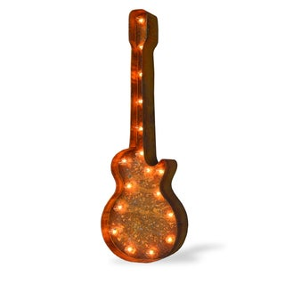 Indoor/ Outdoor Rusted Steel Guitar Marquee Light