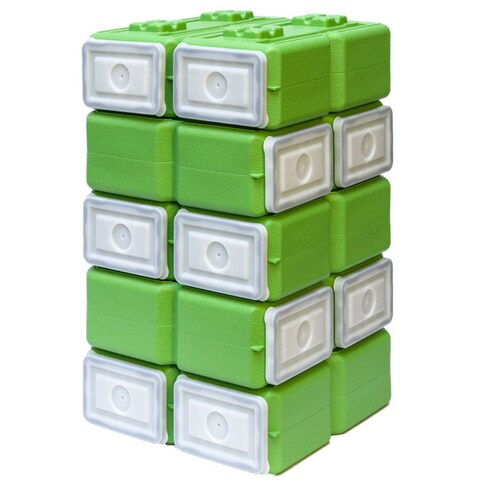 WaterBrick FoodBrick Stackable BPA Free Food Storage Container (Pack of 10) - Green