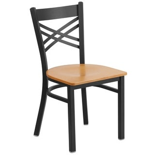 HERCULES Series ''X'' Back Metal Restaurant Chair - Wood Seat