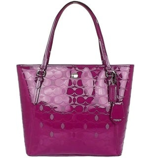 Coach Peyton Linen Embossed Patent Leather Tote