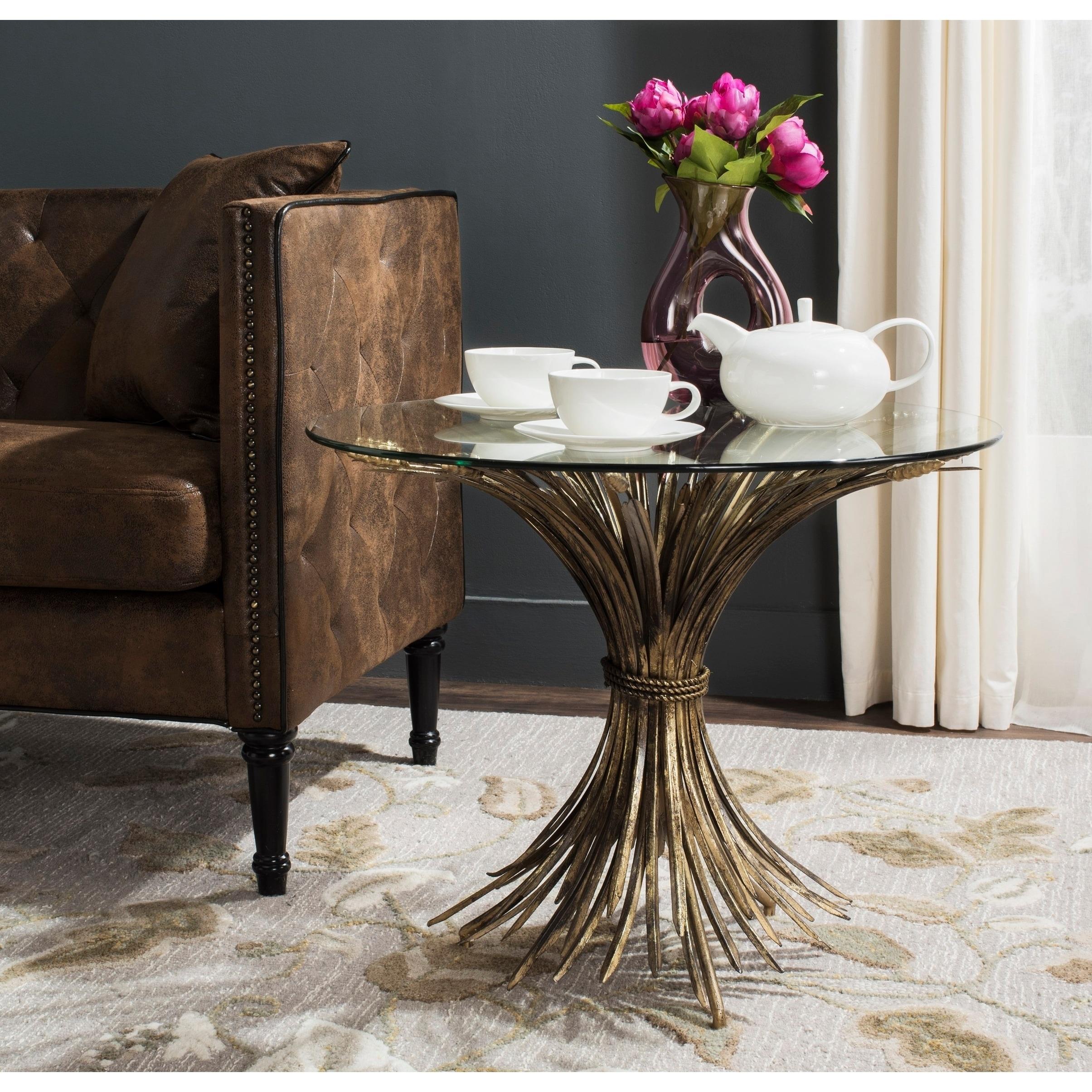 Safavieh Ayris Antique Gold Leaf Accent Table (FOX2577A)