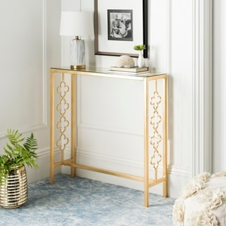 """Link to Safavieh Jovanna Antique Gold Leaf Console Table - 36.8"""" x 11.1"""" x 37"""" Similar Items in Living Room Furniture"""