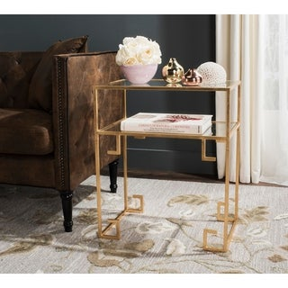 Safavieh Berdine Antique Gold Leaf Accent Table