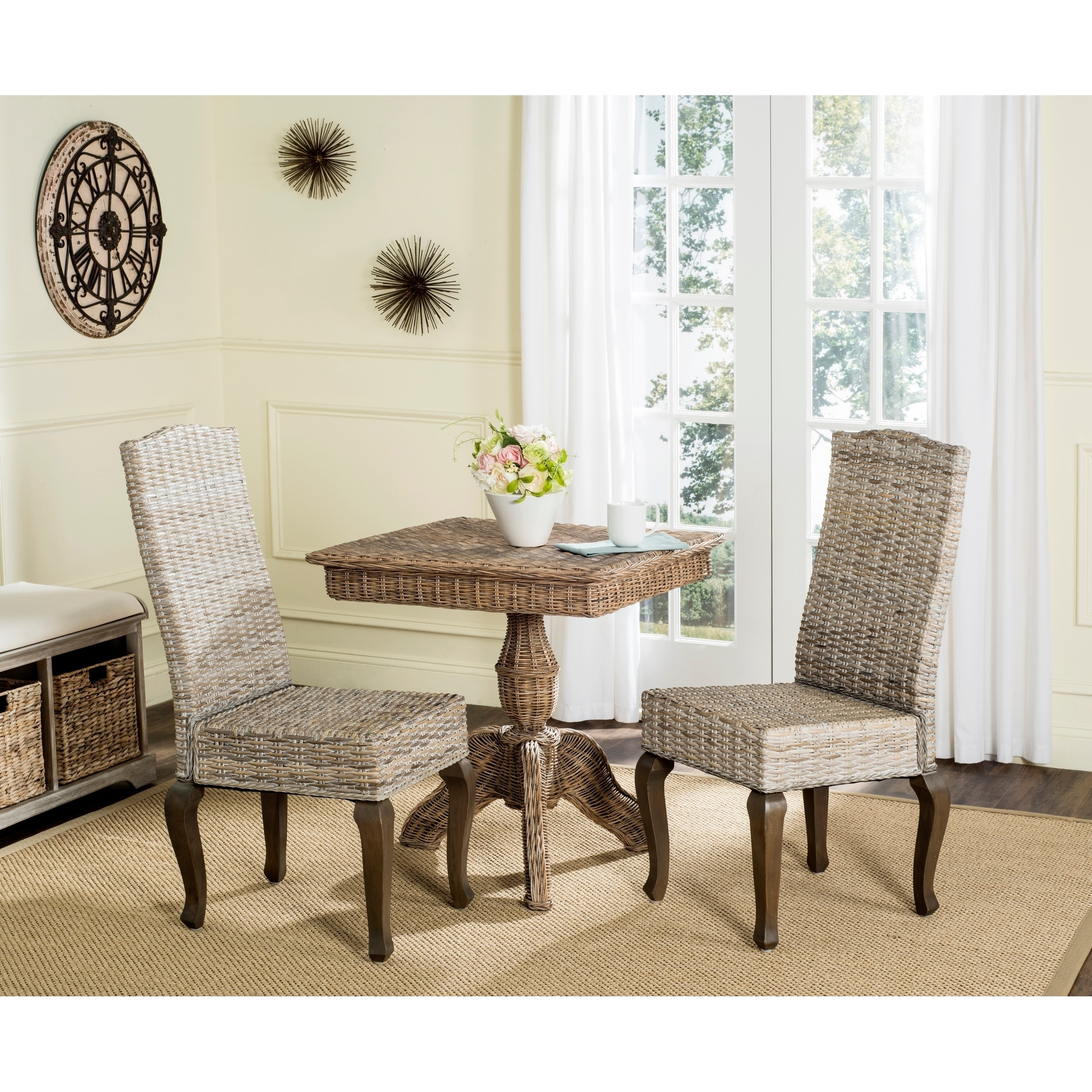 Shop Safavieh Dining Rural Woven Milos White Washed Dining Chairs
