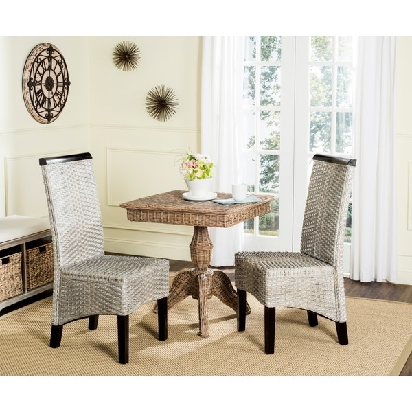 Safavieh Rural Woven Dining Ilya Antique Grey Wicker Dining Chairs (Set Of  2)