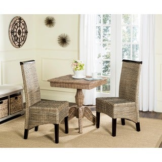 Safavieh Rural Woven Dining Ilya Grey Wicker Dining Chairs (Set of 2)
