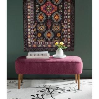 "Safavieh Mid-Century Levi Maroon Wool Bench - 39.6"" x 19.9"" x 18.3"""