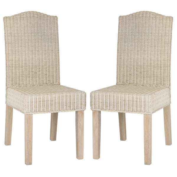 White Wicker Dining Chairs: Safavieh Rural Woven Dining Odette White Washed Wicker