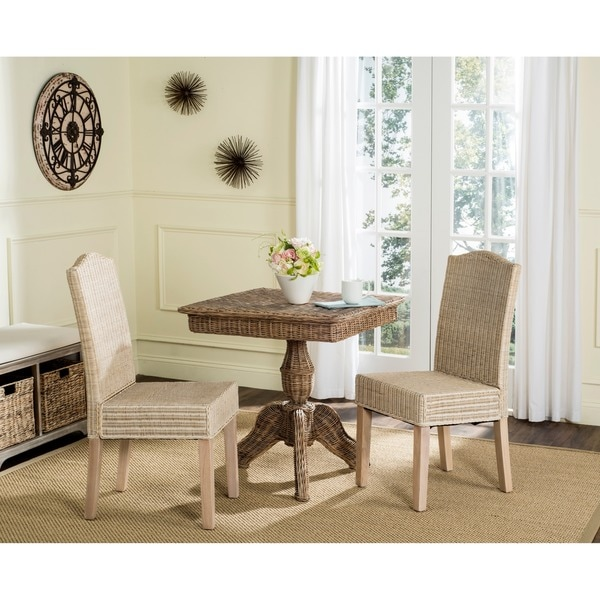 Safavieh Dining Rural Woven Odette White Washed Wicker Chairs Set Of 2