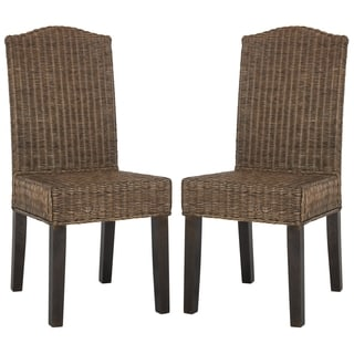 Safavieh Rural Woven Dining Odette Brown Multi Wicker Side Chairs (Set of 2)