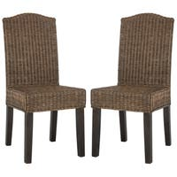 Safavieh Dining Rural Woven Odette Brown Multi Wicker Dining Chairs (Set of 2)