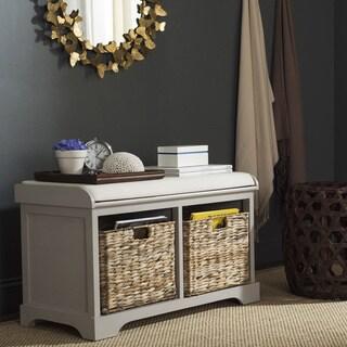 safavieh freddy vintage grey wicker storage bench