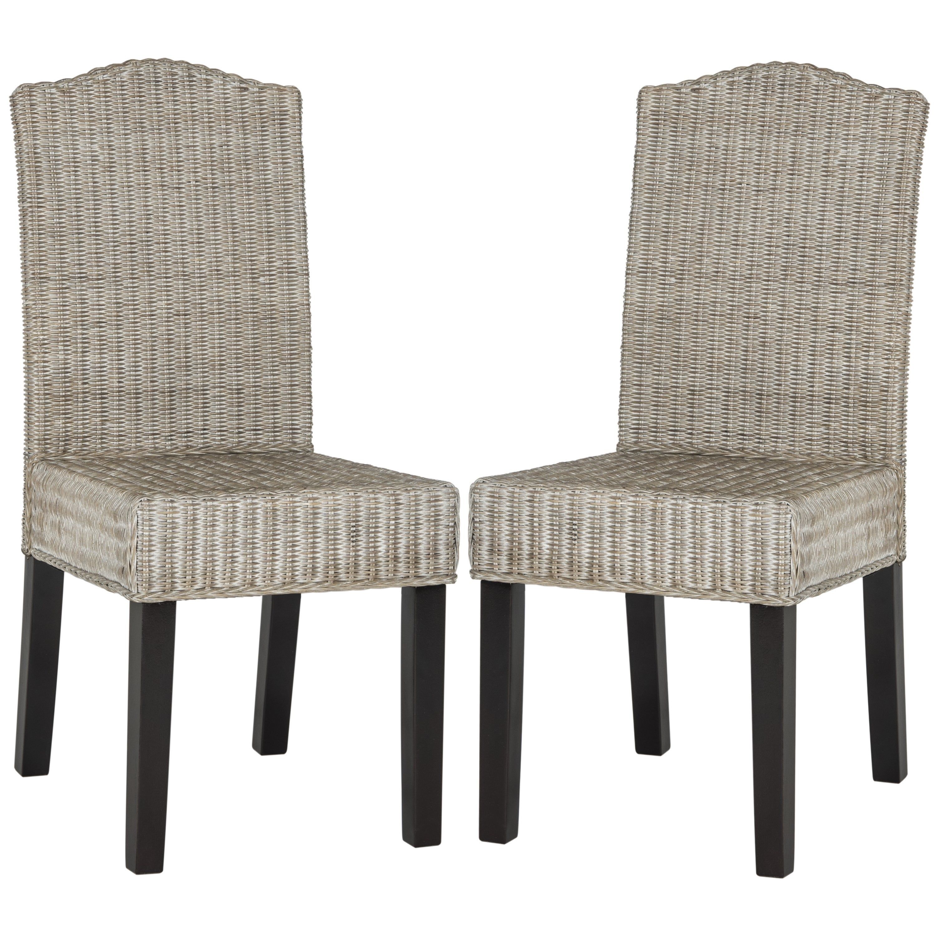 Safavieh Rural Woven Dining Odette Antique Grey Wicker Dining Chairs (Set of 2)  sc 1 st  Overstock.com & Buy Rattan Kitchen u0026 Dining Room Chairs Online at Overstock.com ...