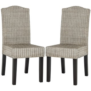 Safavieh Rural Woven Dining Odette Antique Grey Wicker Side Chairs (Set of 2)