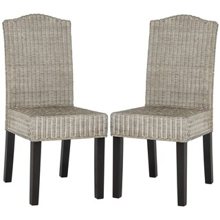 Safavieh Rural Woven Dining Odette Antique Grey Wicker Dining Chairs (Set of 2)