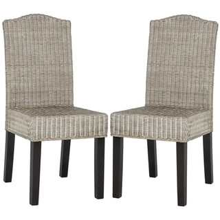 "Link to SAFAVIEH Dining Rural Woven Odette Antique Grey Wicker Dining Chairs (Set of 2) - 17.3"" x 22"" x 38.5"" Similar Items in Kitchen & Dining Room Chairs"