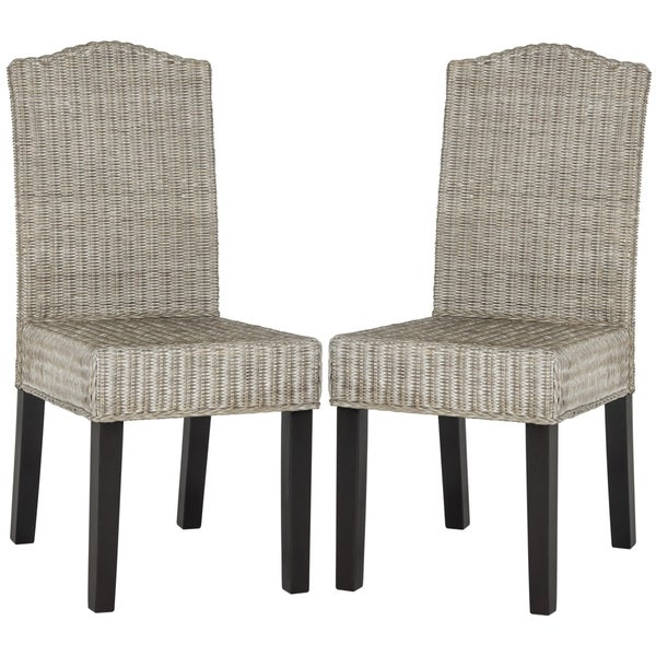 Grey Wicker Chairs safavieh rural woven dining odette antique grey wicker dining