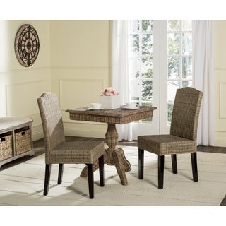 Safavieh Rural Woven Dining Odette Grey Wicker Side Chairs (Set of 2)
