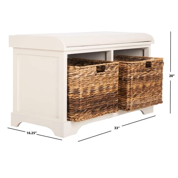 Swell Shop Safavieh Freddy Distressed White Wicker Storage Bench Onthecornerstone Fun Painted Chair Ideas Images Onthecornerstoneorg