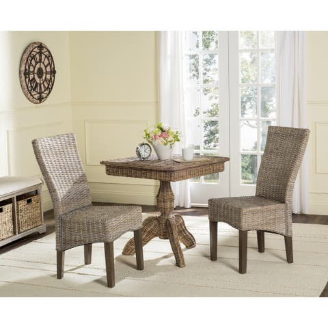 """Safavieh Dining Rural Woven Ozias White Washed Dining Chairs (Set of 2) - 18.5"""" x 27.5"""" x 39"""""""